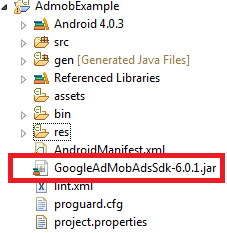 AdMob SDK v6.0 Folder Structure