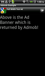 AdMob Smart Banners Ad in Portrait