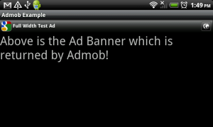 AdMob Smart Banners Ad in Landscape
