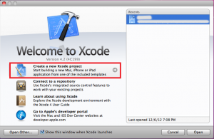 xcode create new project
