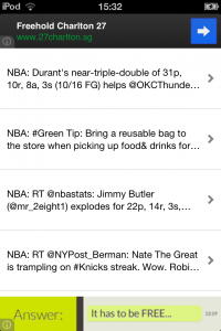 iPhone Twitter RSS Feed App