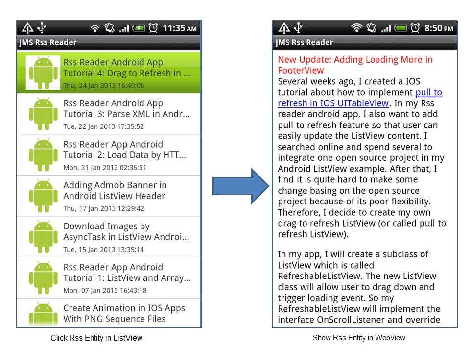 RSS Reader Android App Tutorial 5: Show WebSite Content in WebView